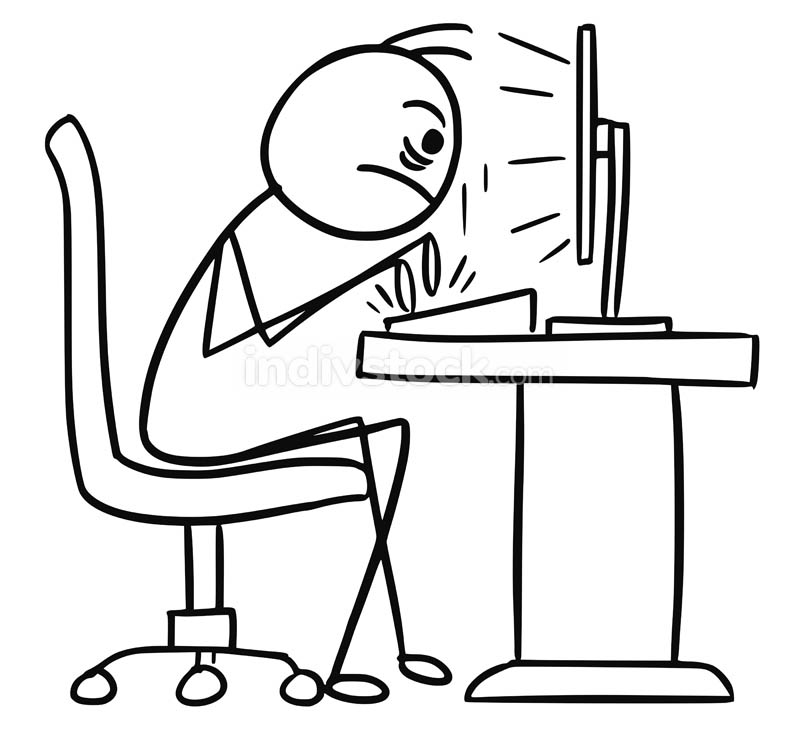 Cartoon of Writter Writting on Computer Fast and Aggressively