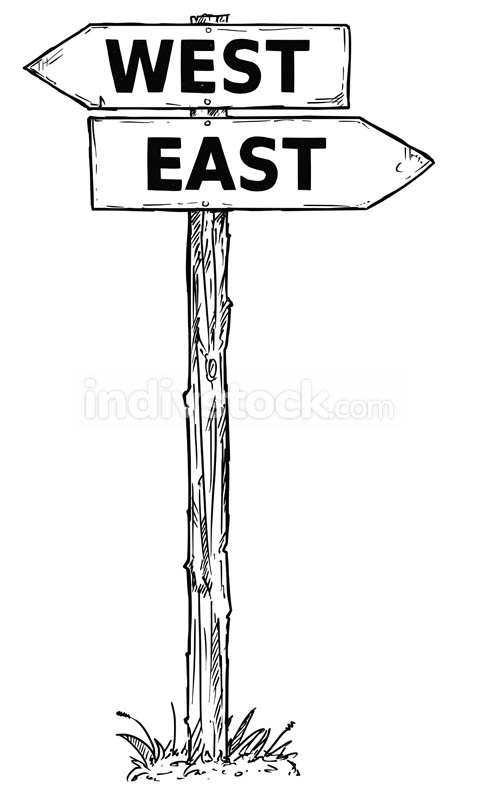 Cartoon Vector Direction Sign with Two Decision Arrows West and