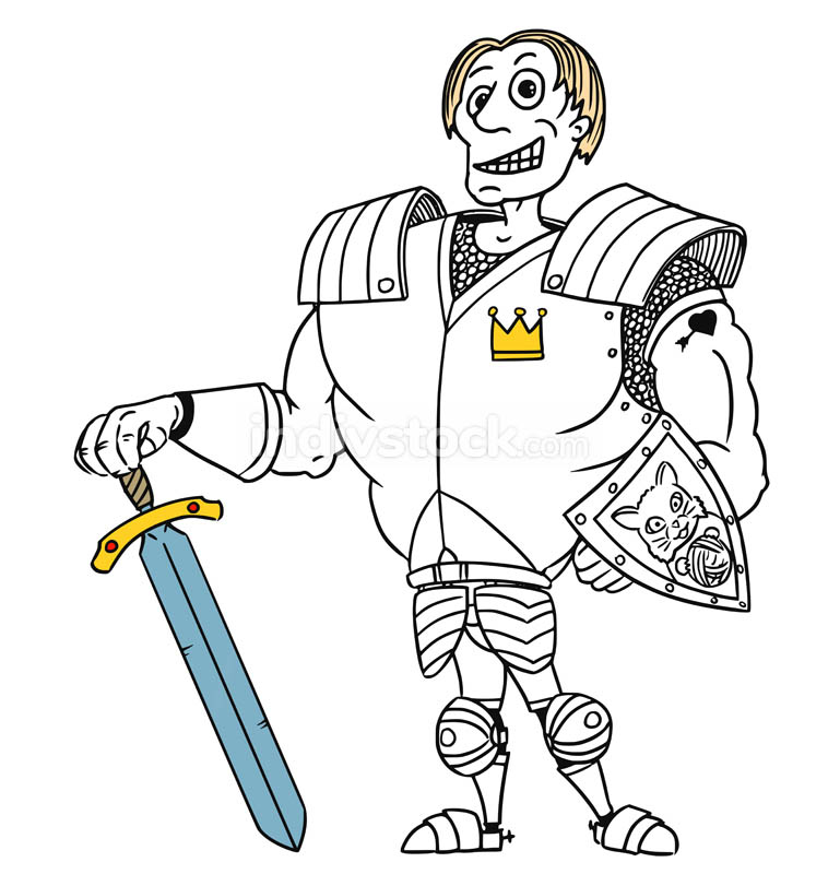 Cartoon Vector Medieval Fantasy Hero Knight Prince