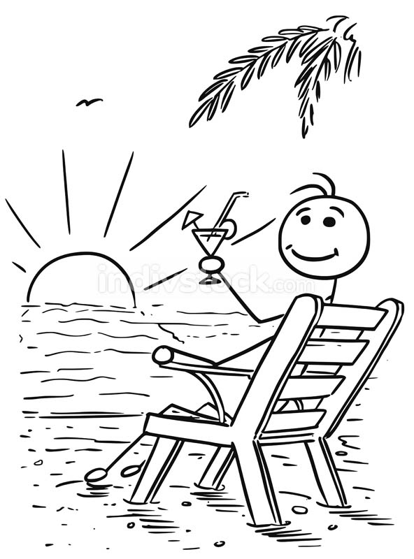 Cartoon Vector Stick Man Relaxing Sitting on the Beach Chair Wat