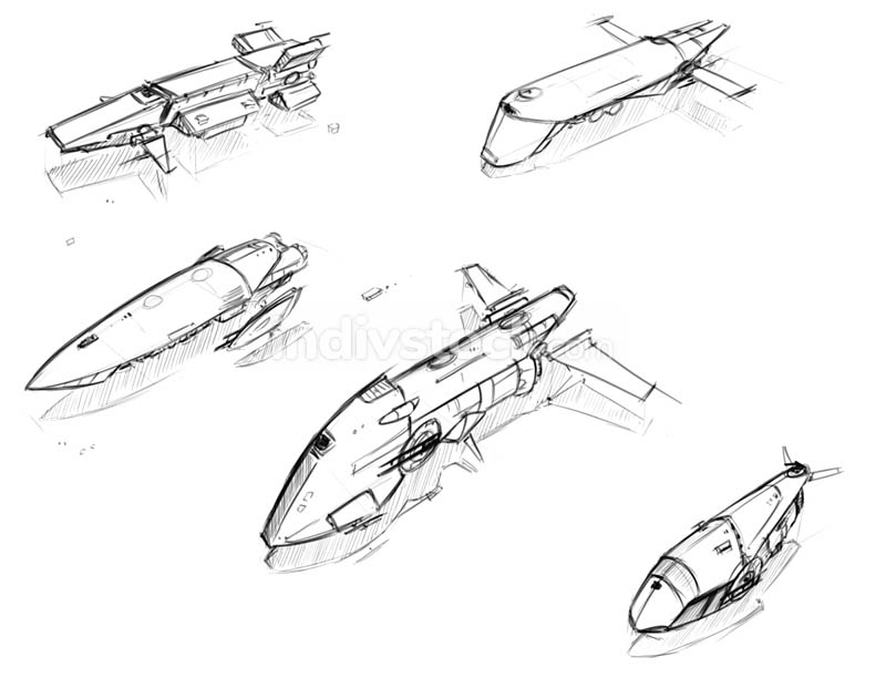 Set of Vector Hand Drawn Pencil Sketches of Sci-fi Space Ships