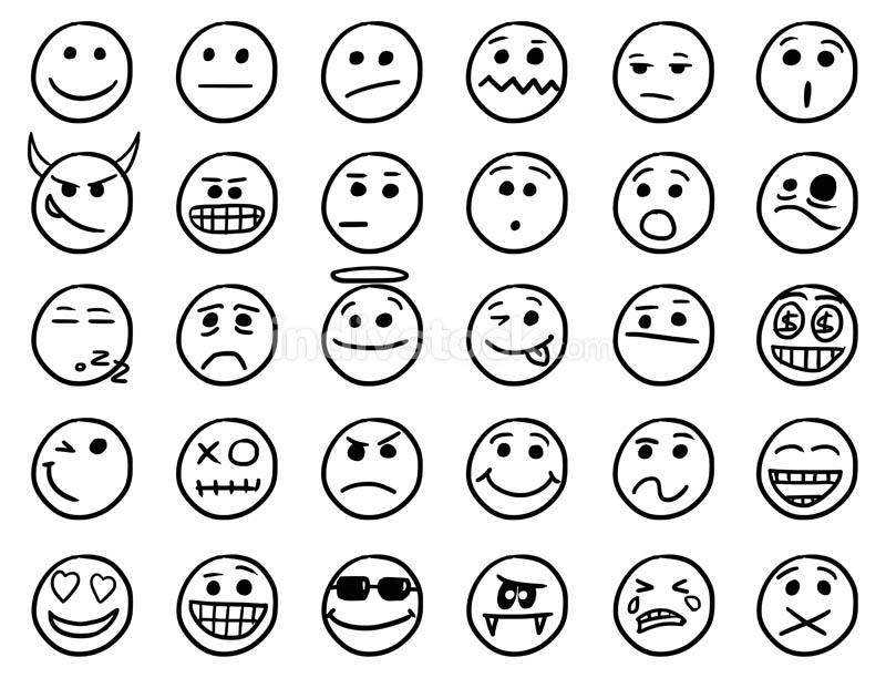Smiley Vector Hand Drawings Icon Set01 in Black and White