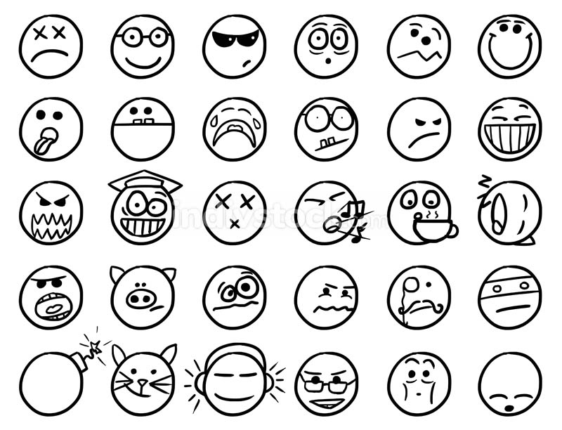 Smiley Vector Hand Drawings Icon Set02 in Black and White
