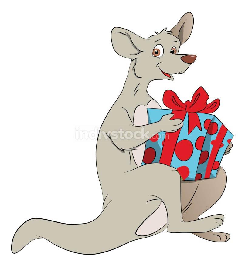 Vector of kangaroo holding a giftbox.