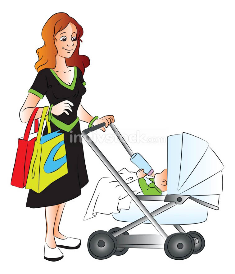 Vector of mother holding shopping bags and pushing her baby in p