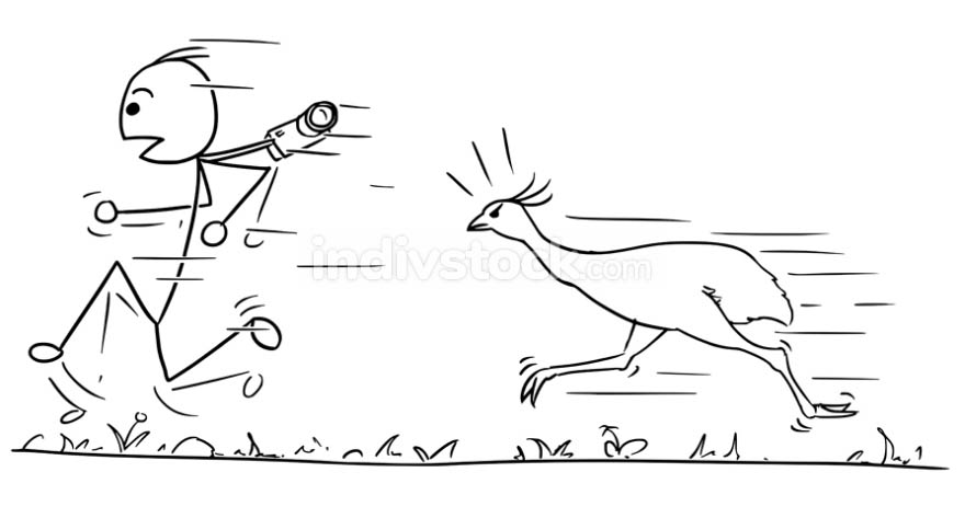 Vector Stickman Cartoon of Men Running Away Followed by Large Bi
