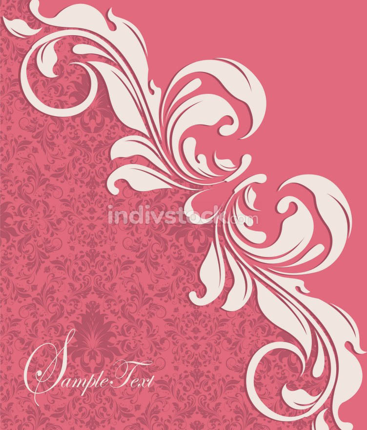 Vintage invitation card with ornate elegant abstract floral desi