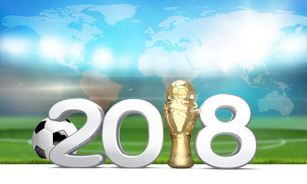 2018 trophy. Soccer football ball. 3d render. Elements of this i