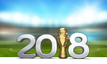 2018 trophy with a soccer football ball as 3d rendering with blu