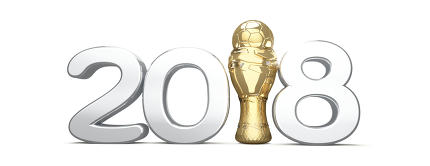 2018 trophy with a soccer football ball isolated 3d rendering