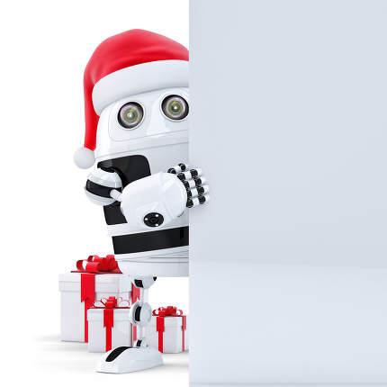 3d Robot Claus holding blank banner