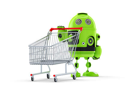 3d robot with shopping cart. E-shop concept