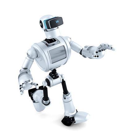 3D Robot with virtual reality headset. 3D illustration. Contains clipping path