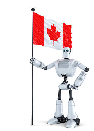 Android Robot standing with flag of Canada. Isolated. Contains clipping path