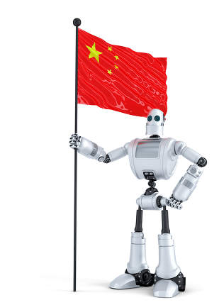 Android Robot standing with flag of China. Isolated. Contains clipping path