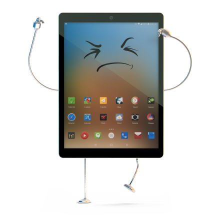 Angry Tablet character. Isolated. Contains clipping path