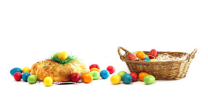basket with easter eggs with challah yeast pastries bread plait