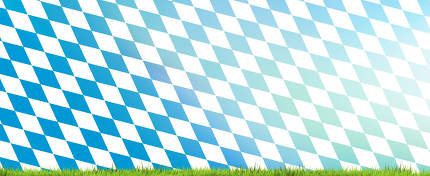 bavaria flag background with green grass 3d rendering