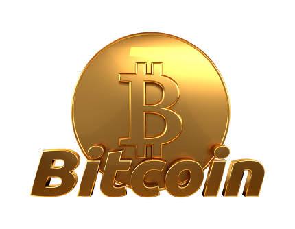Bitcoin 3d rendering golden isolated