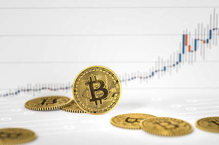 bitcoin coins chart background 3d rendering