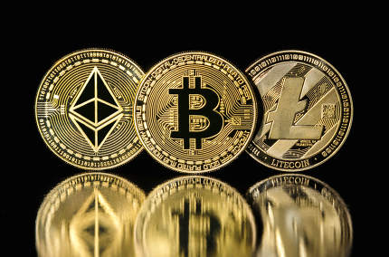 bitcoin, litecoin and ethereum coins on black background
