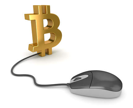 Bitcoin Symbol and Computer Mouse