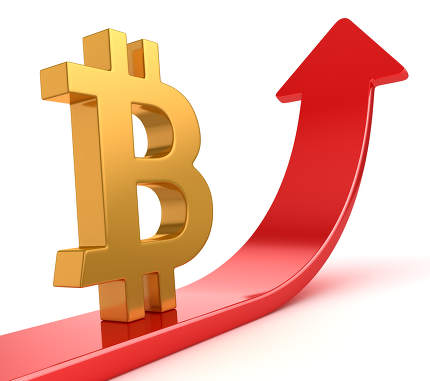 Bitcoin Symbol on Red Arrow