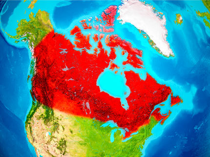 Canada in red on Earth
