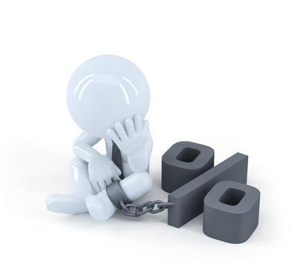 Chained businessman. Debt concept.