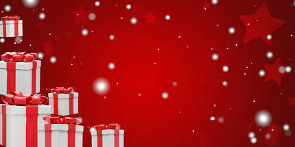 christmas background with christmas presents and snowflakes 3d-illustration