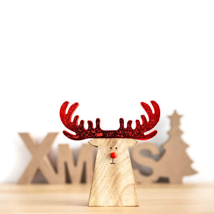 Christmas decoration with xmas text and a reindeer