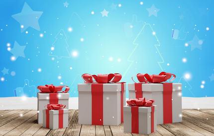 christmas presents 3d-illustration background
