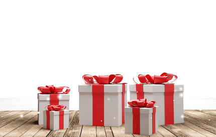 christmas presents 3d-illustration background