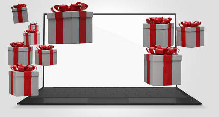 christmas presents packages computer 3d-illustration