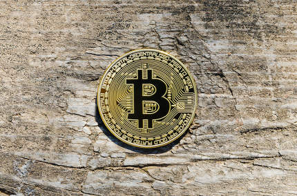 Coins on the Wood Background. Bitcoins Crypto currency. BTC