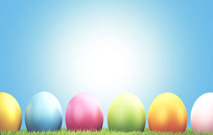 colorful Easter eggs green grass 3d rendering
