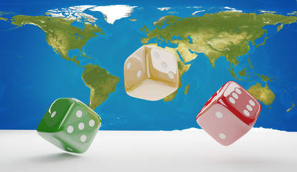 cubes dices 3d-illustration world map. elements of this image fu