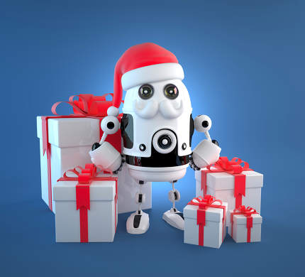 Cute Robot Santa with gift boxes