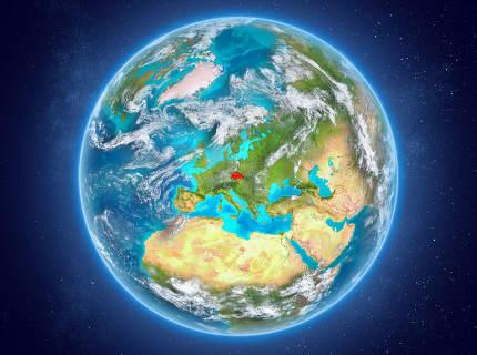 Czech republic on planet Earth in space