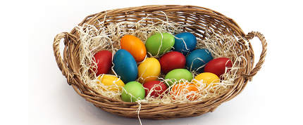 easter basket with easter eggs