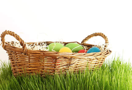 Easter eggs in basket at green grass blades of grass