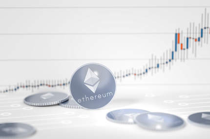 ethereum coins chart background 3d rendering