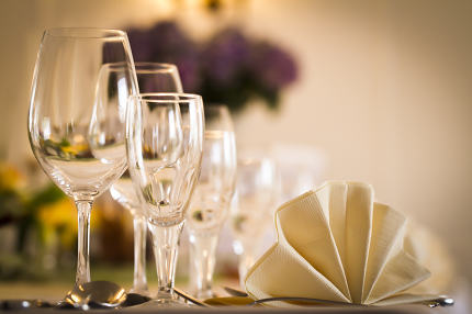 Festive table setting with decoration,