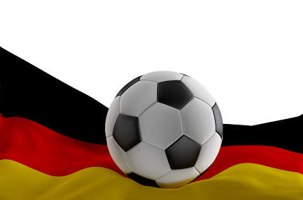 flag of Germany with soccer ball 3d-illustration isolated
