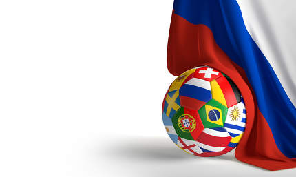 flag of Russia with soccer ball 3d rendering