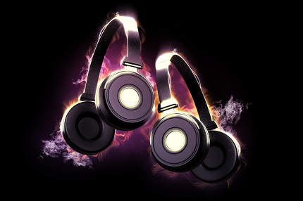 Flaming headphones. Musical concept 3d illustration