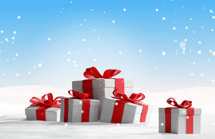 free download: Christmas presents in the snow 3d-illustration
