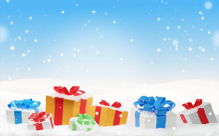 free download: christmas presents with snow and snowflakes 3d-illustration chri