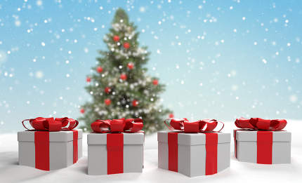 free download: christmas tree with christmas presents covered with snow 3d-illu