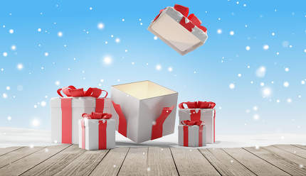 free download: open christmas presents with snow 3d-illustration